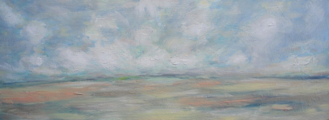 "Someplace 12"" x 30"" 2013 Oil on canvas, framed $400.00 Available at Modern Country Interiors"