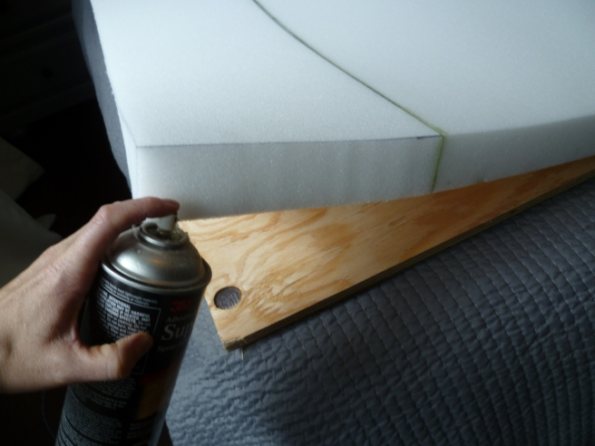 """Use a piece of 2"""" general purpose foam and get it cut 1"""" larger than your plywood, so there is a 1/2"""" overhang"""