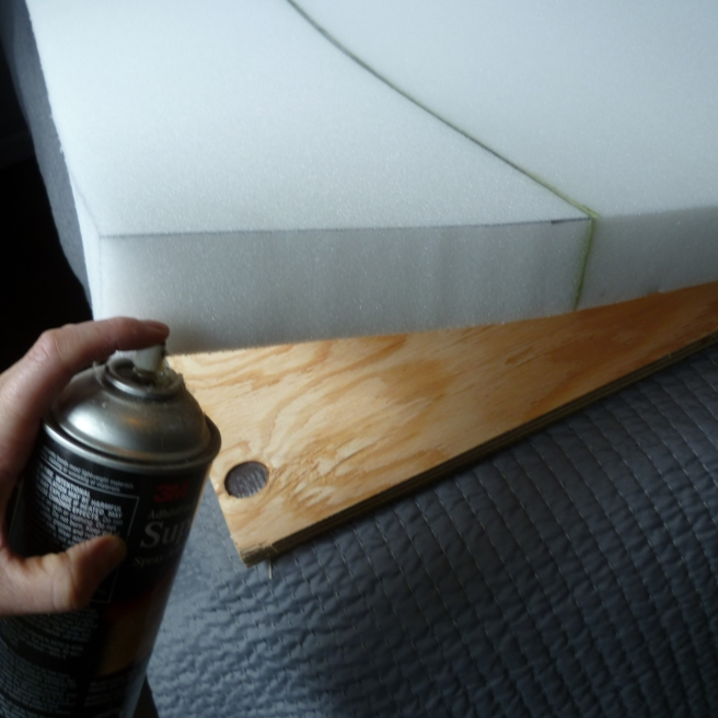 "Use a piece of 2"" general purpose foam and get it cut 1"" larger than your plywood, so there is a 1/2"" overhang"