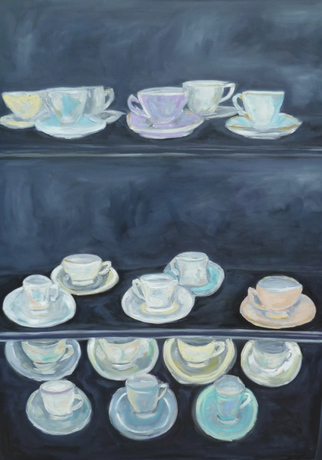 Teacup Cabinet Painting By Amy Barrett